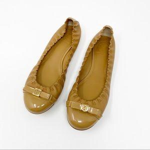 Tory Burch Romy Cap Toe Tan Ballet Flats Size 8